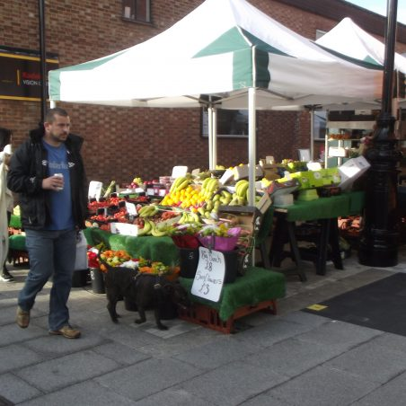 Fruit and veg stall on corner of High St and Market Lane