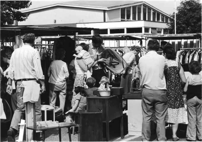 Another picture from August 1981. This shows some second hand stalls at a market held on Tuesdays.