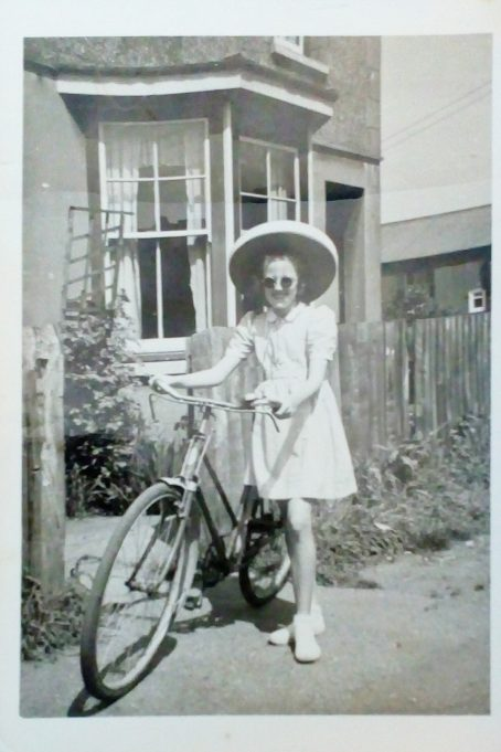 Approx 1949, taken outside Lillydene, Woodlands Road, Wickford. Kathleen (Pat) Taylor. approx 10 years old.