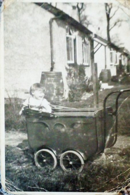 Approx 1930 Mum in her pram  - Jennifer Taylor taken in Wick Lane Wickford