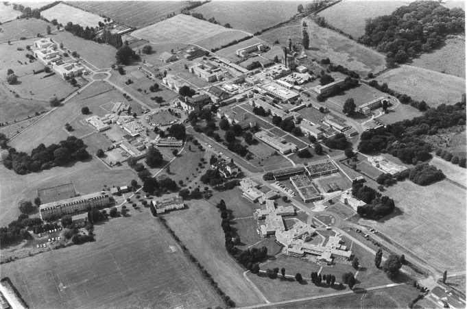 An aerial view of the hospital taken in 1985.
