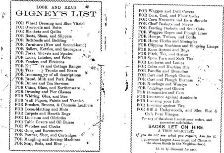 Products available in Gigney's Stores 1894