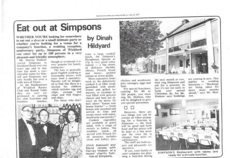 Simpsons Restaurant, 1977.