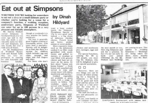 Simpsons Restaurant, 1977.