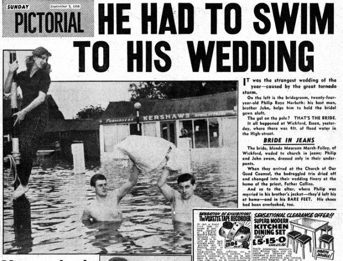 Wickford Flood wedding - British story of a wedding on the flood day of 1958.