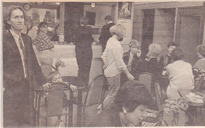 Rick Oliver (left) and the coffee bar.