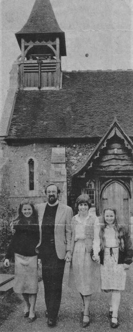 The Desrosiers enjoying their brief stay at Wickford's St. Catherine's Church. | Echo newspapers.