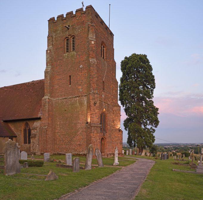 St Margaret Downham.  The church tower built c1470.