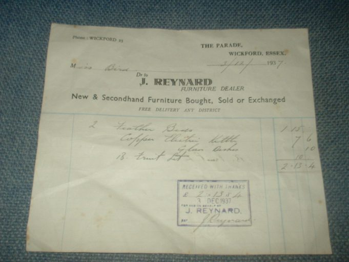 1937 J REYNARD, WICKFORD, RECEIPT.