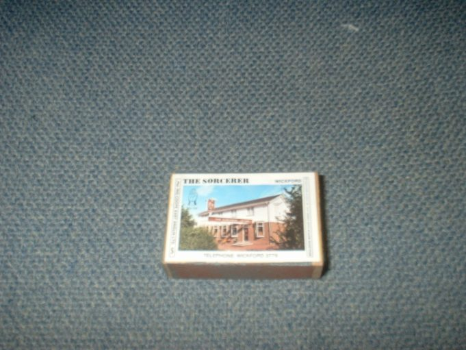 The Sorcerer public house: this matchbox dates from the late 1970s. An ex-West Ham footballer was the landlord at the time. The footballer was Brian Dear, who was also steward at the Shrimpers Club at Southend United Football Club.