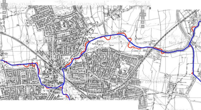 Showing changes in the route of the River Crouch.
