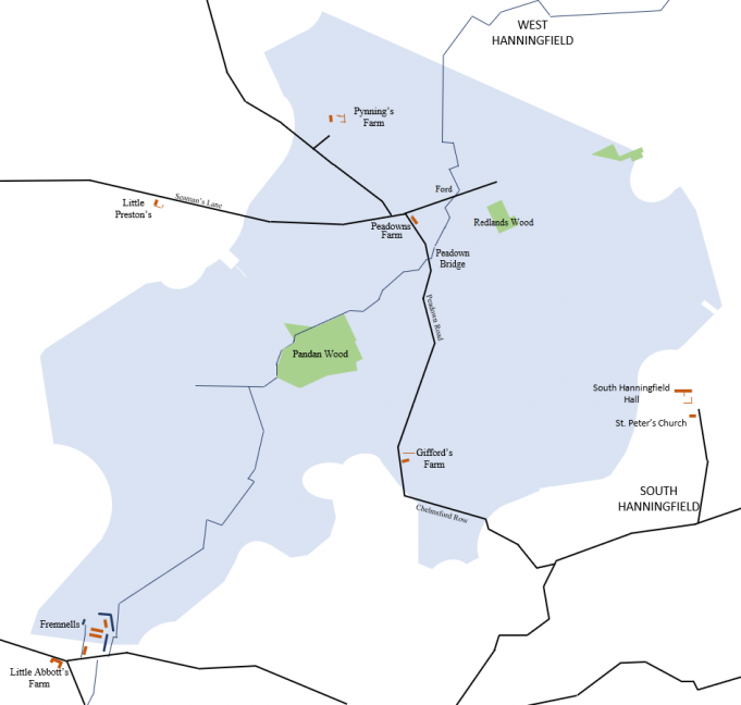 Map showing the original layout and where the reservoir is today